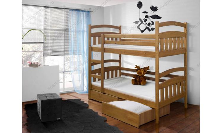 Кровать Лоди 2-х ярусная из массива березы