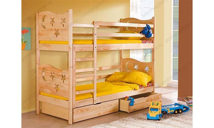 Кровать Ночь 2-х ярусная из массива березы
