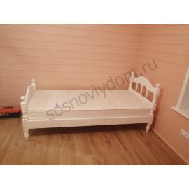 Кровать Точенка,цвет белый