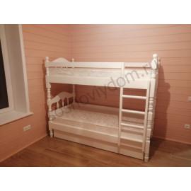 Кровать Точеная 2-х ярусная,цвет белый