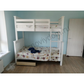 Кровать Ландер 2-х ярусная,цвет белый
