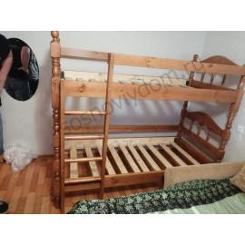 Кровать Точеная 2-х ярусная,коричневый-2