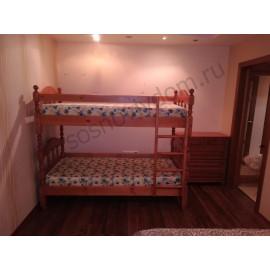 Кровать Точеная 2-х ярусная,мокко-2